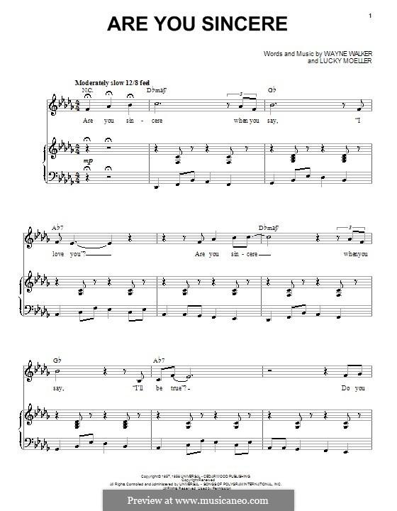 Are You Sincere: Для голоса и фортепиано by Lucky Moeller, Wayne P. Walker