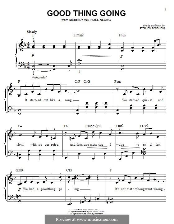 Good Thing Going: Для фортепиано (легкий уровень) by Stephen Sondheim