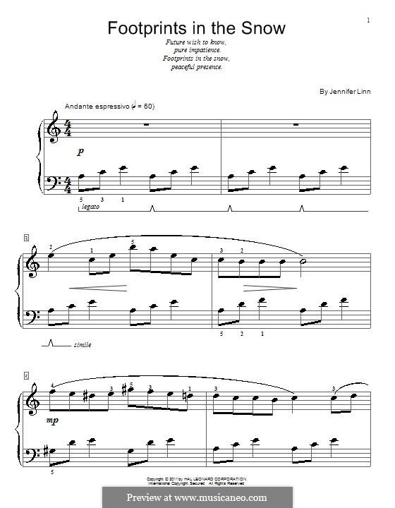 Footprints in the Snow: Для фортепиано by Jennifer Linn