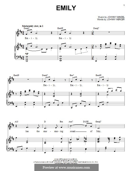 Emily (from The Americanization of Emily): Для голоса и фортепиано by Johnny Mandel