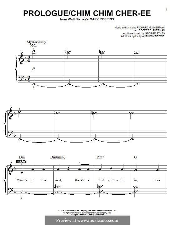 Prologue/Chim Chim Cher-ee: Для фортепиано (легкий уровень) by Anthony Drewe, George Stiles, Richard M. Sherman, Robert B. Sherman