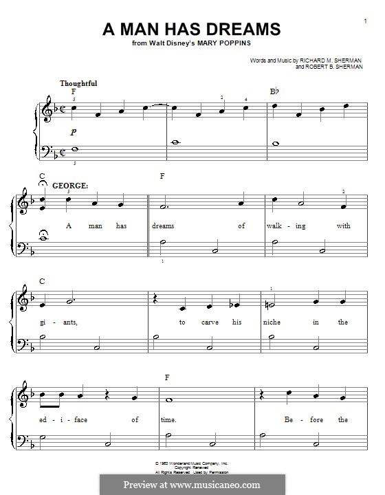 A Man Has Dreams: Для фортепиано (легкий уровень) by Anthony Drewe, George Stiles, Richard M. Sherman, Robert B. Sherman