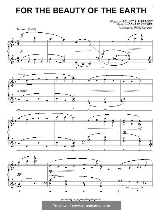 For the Beauty of the Earth: Для фортепиано (ноты высокого качества) by Conrad Kocher