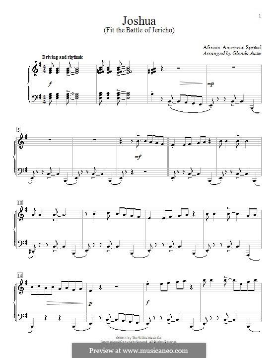 Joshua Fit de Battle ob Jericho (Joshua Fit the Battle): Для фортепиано by folklore