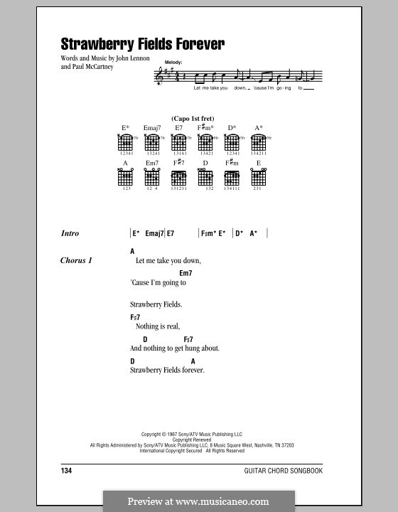 Strawberry Fields Forever (The Beatles): Текст, аккорды by John Lennon, Paul McCartney