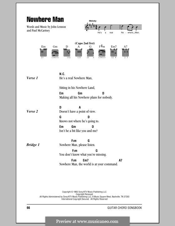 Nowhere Man (The Beatles): Текст, аккорды by John Lennon, Paul McCartney
