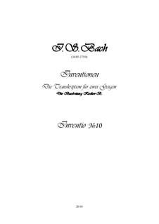 No.10 соль мажор, BWV 781: Для двух скрипок, партитура и партии by Иоганн Себастьян Бах