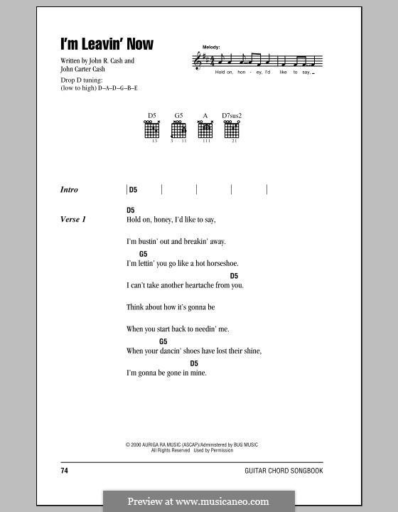 I'm Leavin' Now: Текст, аккорды by John Carter Cash, Johnny Cash