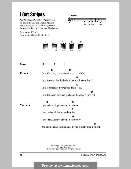 I Got Stripes: Текст, аккорды by Charles Lee Williams, Alan Lomax, John A. Lomax, Johnny Cash