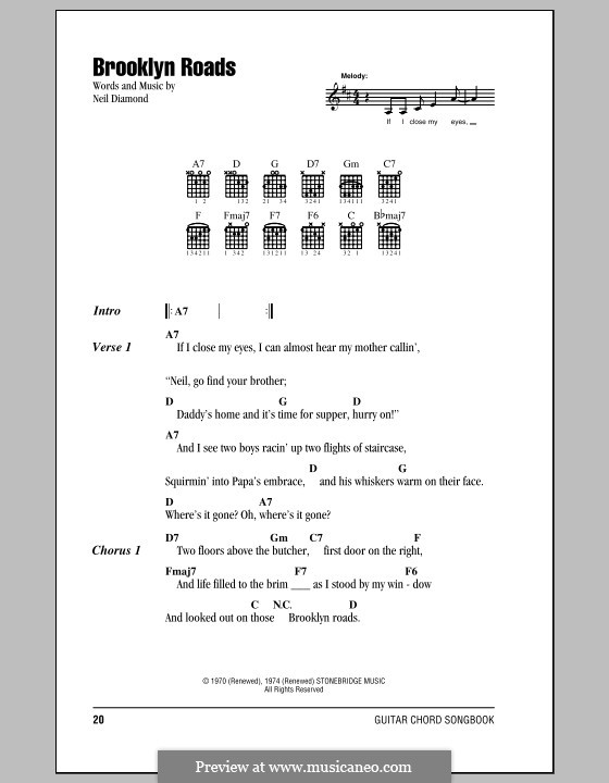 Brooklyn Roads: Текст, аккорды by Neil Diamond