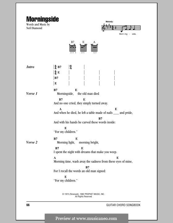 Morningside: Текст, аккорды by Neil Diamond