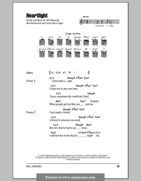 Heartlight: Текст, аккорды by Burt Bacharach, Carole Bayer Sager, Neil Diamond