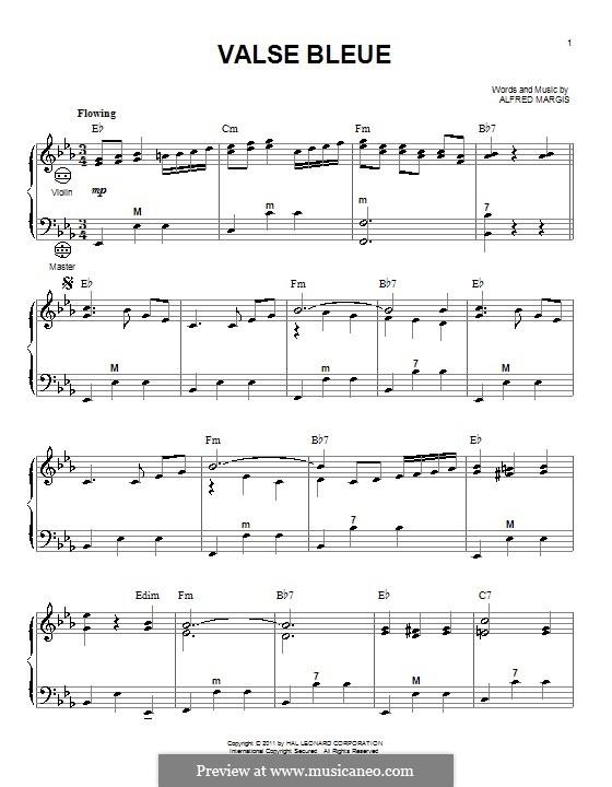 Valse Bleue: Для аккордеона by Alfred Margis