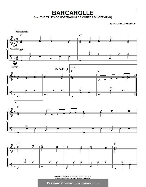 Баркарола: Версия для аккордеона by Жак Оффенбах