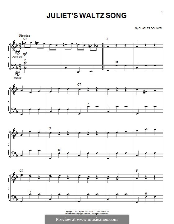 Ромео и Джульетта: Juliet's Waltz Song, for accordion by Шарль Гуно