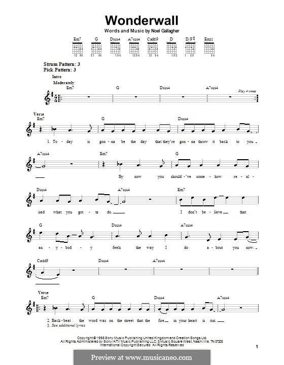 Wonderwall (Oasis): Для гитары (очень легкая версия) by Noel Gallagher