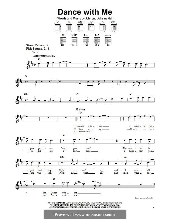 Dance with Me (Orleans): Для гитары (очень легкая версия) by John T. Hall, Johanna Hall