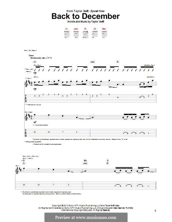 Back to December: Гитарная табулатура by Taylor Swift
