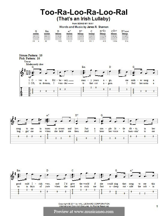Too-Ra-Loo-Ra-Loo-Ral (That's an Irish Lullaby): Легкая гитарная табулатура by James Royce Shannon