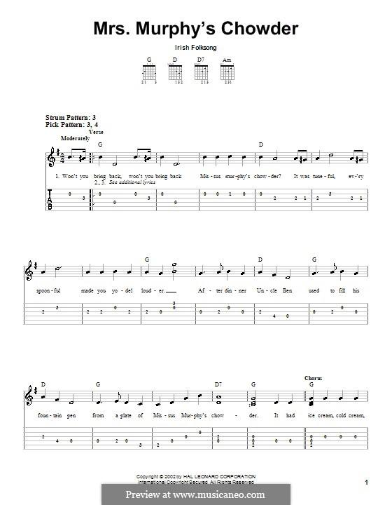 Mrs. Murphy's Chowder: Для гитары (очень легкая версия) by folklore