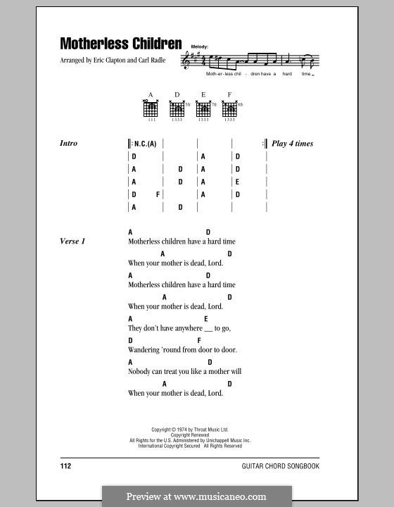 Motherless Children: Текст, аккорды by folklore