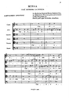 Missa Così Estrema la Doglia: Missa Così Estrema la Doglia by Спонтоне Бартоломео