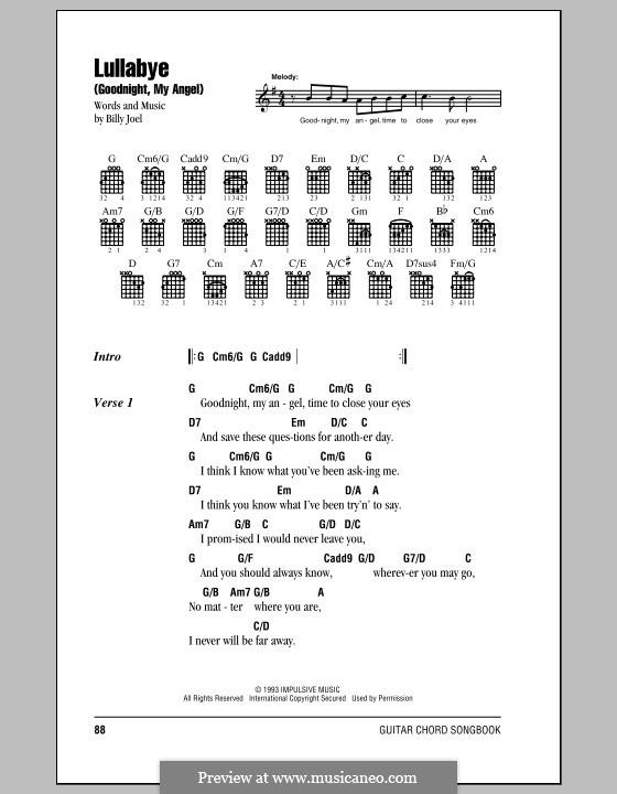 Lullabye (Goodnight, My Angel): Текст, аккорды by Billy Joel