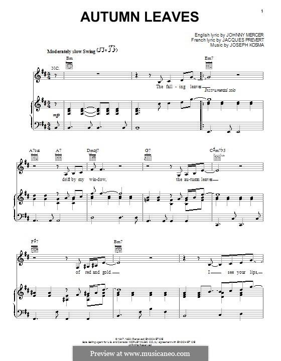 Autumn Leaves: Для голоса и фортепиано или гитары (B Minor) by Joseph Kosma
