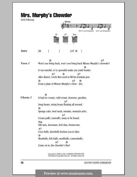 Mrs. Murphy's Chowder: Текст, аккорды by folklore