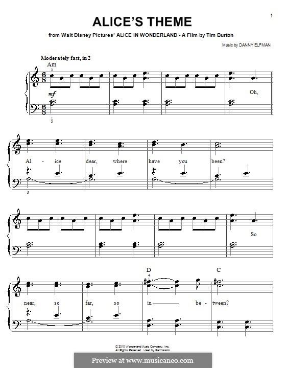 Alice's Theme (from Alice in Wonderland): Для фортепиано (легкий уровень) by Danny Elfman