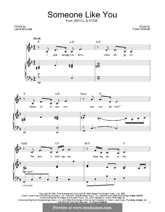 Someone Like You (from Jekyll and Hyde): Для голоса и фортепиано by Frank Wildhorn