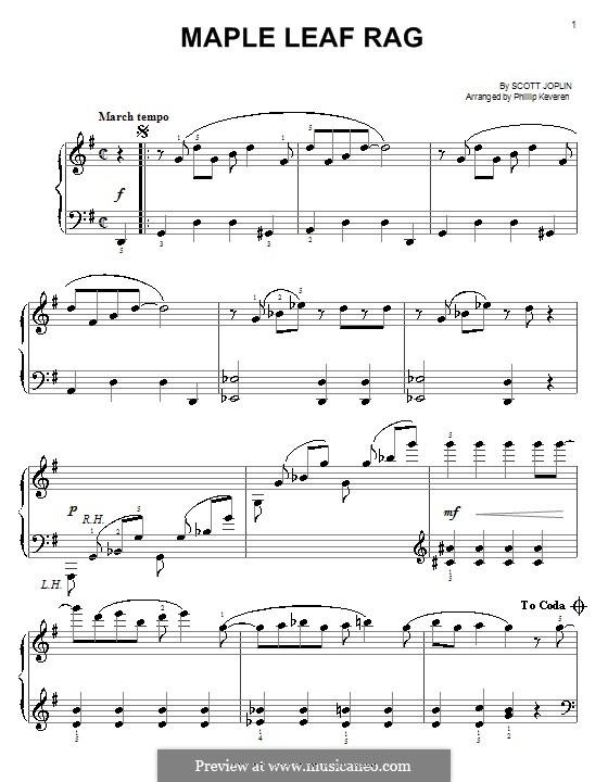Maple Leaf Rag (Printable Scores): Для фортепиано (легкий уровень) by Скотт Джоплин