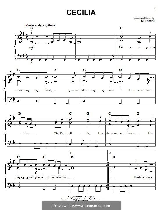 Cecilia (Simon & Garfunkel): Для фортепиано (легкий уровень) by Paul Simon