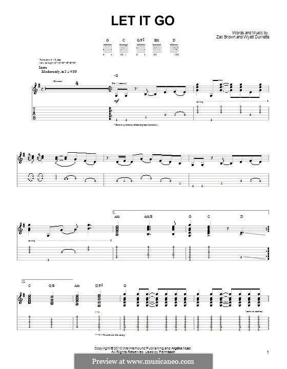 Let It Go (Zac Brown Band): Для гитары (очень легкая версия) by Wyatt Durrette, Zac Brown