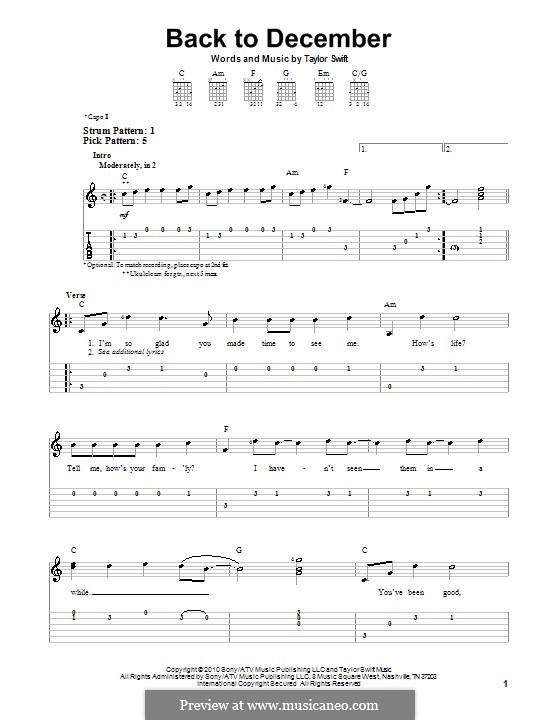 Back to December: Для гитары (очень легкая версия) by Taylor Swift