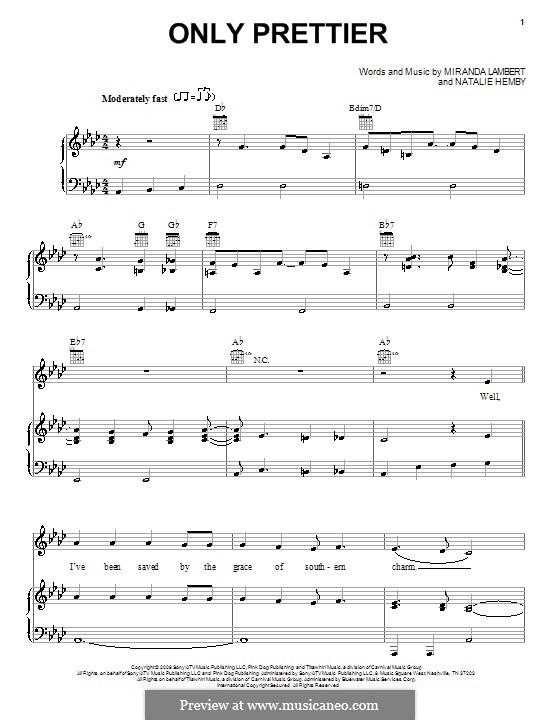 Only Prettier (Miranda Lambert): Для голоса и фортепиано (или гитары) by Natalie Hemby