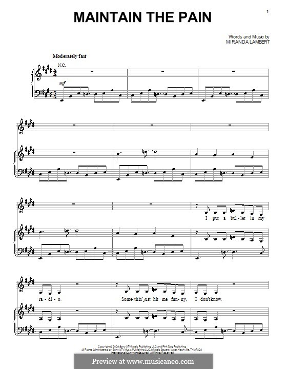 Maintain the Pain: Для голоса и фортепиано (или гитары) by Miranda Lambert