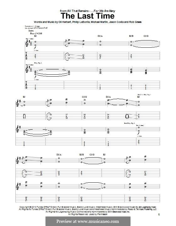 The Last Time (All That Remains): Гитарная табулатура by Jason Costa, Mike Martin, Oli Herbert, Philip LaBonte, Rob Graves