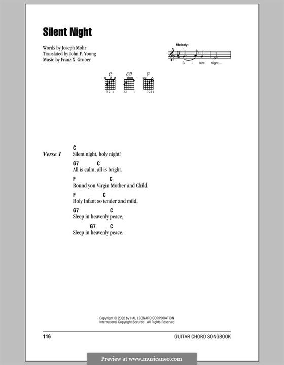 Тихая ночь (ноты для печати): Текст, аккорды by Франц Ксавьер Грубер