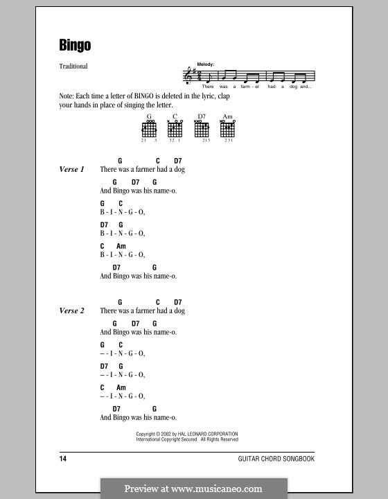 Bingo: Текст, аккорды by folklore