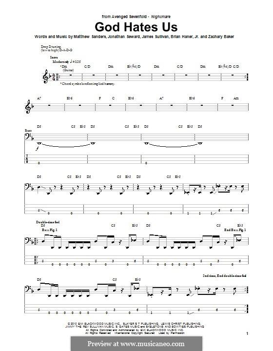 God Hates Us (Avenged Sevenfold): Для бас-гитары с табулатурой by Brian Haner Jr., James Sullivan, Jonathan Seward, Matthew Sanders, Zachary Baker