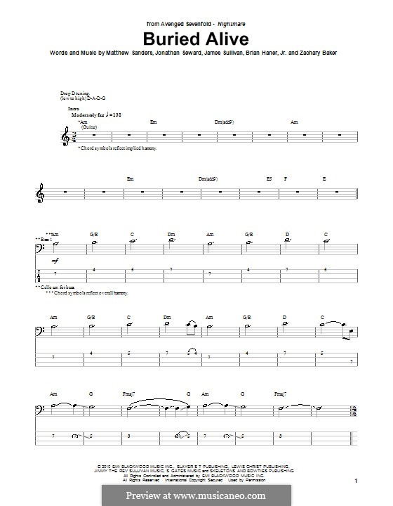 Buried Alive (Avenged Sevenfold): Для бас-гитары с табулатурой by Brian Haner Jr., James Sullivan, Jonathan Seward, Matthew Sanders, Zachary Baker