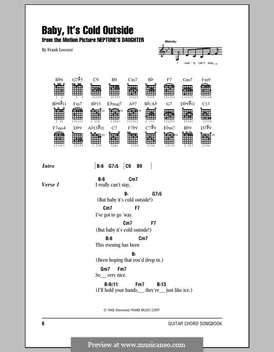 Baby Its Cold Outside Chords by Leon Redbone Learn to play guitar by chord and tabs and use our crd diagrams transpose the key and more