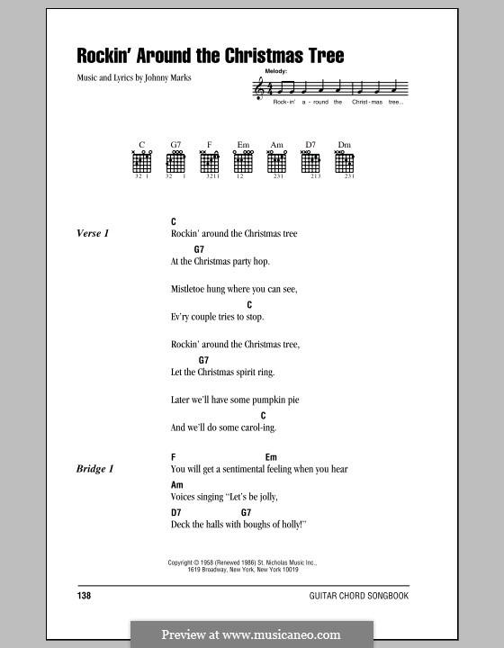 Rockin' Around the Christmas Tree: Текст, аккорды by Johnny Marks