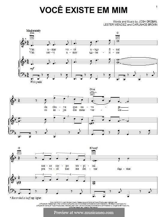 Voce existe em mim: Для голоса и фортепиано (или гитары) by Carlinhos Brown, Lester A. Mendez