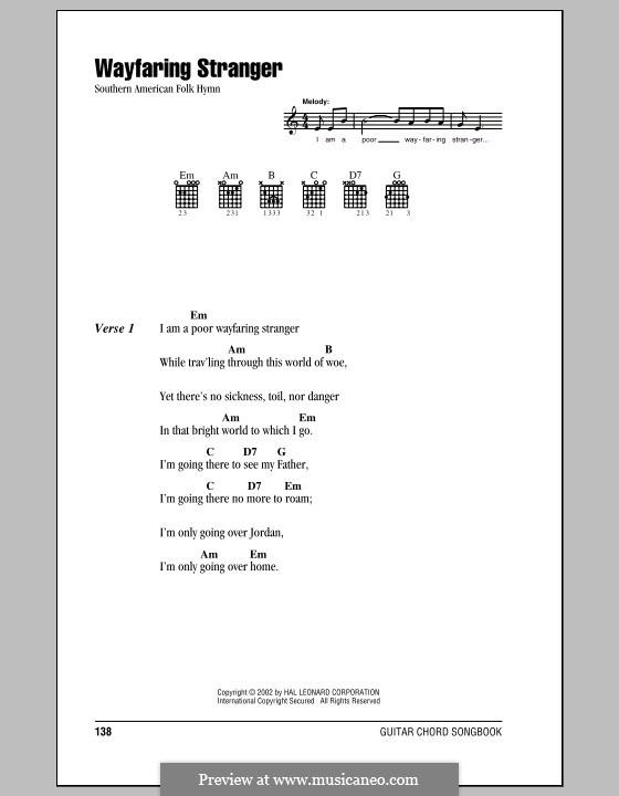 Wayfaring Stranger: Текст, аккорды by folklore