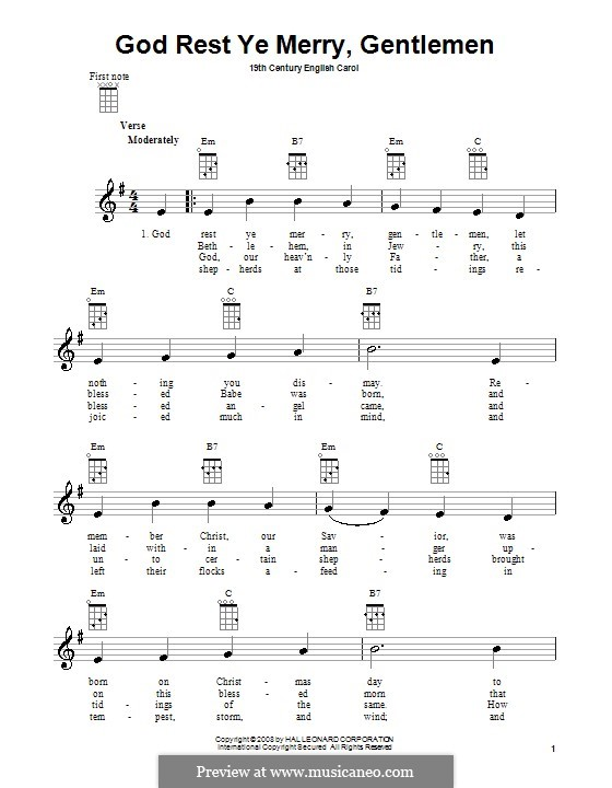 God Rest You Merry, Gentlemen (Printable Scores): Для укулеле by folklore