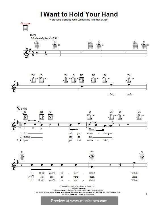 I Want to Hold Your Hand (The Beatles): Для укулеле by John Lennon, Paul McCartney