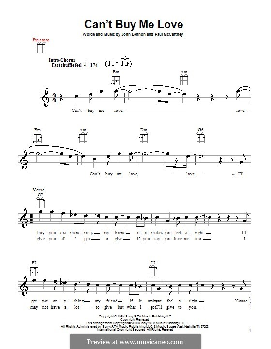 Can't Buy Me Love (The Beatles): Для укулеле by John Lennon, Paul McCartney