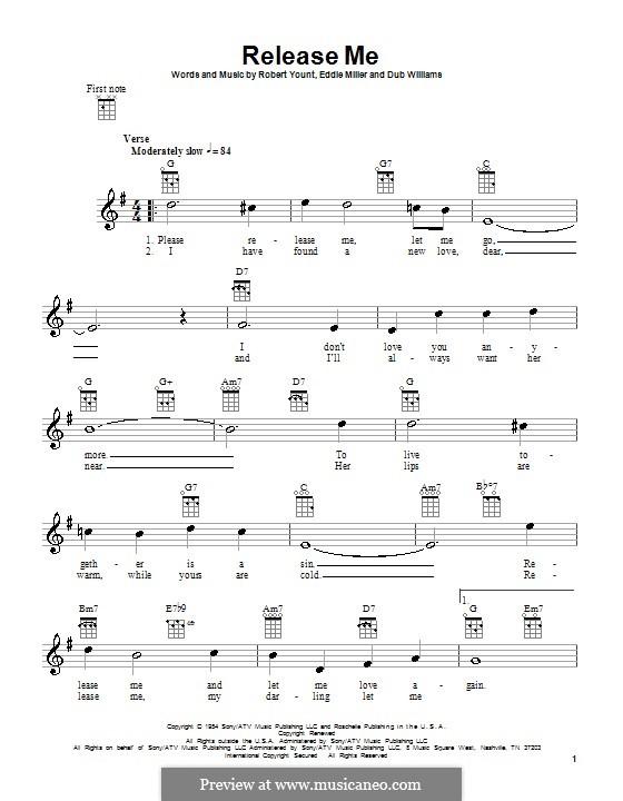 Release Me (Engelbert Humperdinck): Для укулеле by Dub Williams, Eddie Miller, Robert Yount
